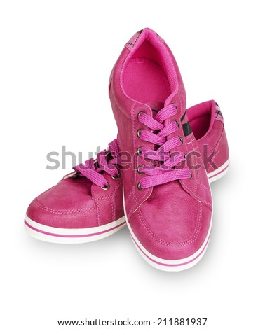 Woman pink sneakers isolated on white background
