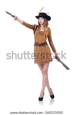 Woman pirate with knife isolated on white