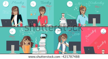 Woman plan work week design flat. Set of images of each working day from monday to friday, office worker woman. Illustration working hours,  schedule everyday busy work week business woman - stock photo