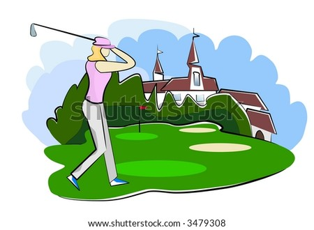 woman playing golf on golf course illustration - stock photo