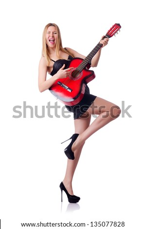 Woman playing guitar isolated on the white