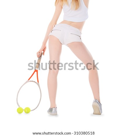 Woman playing tennis waiting tennis ball over white - stock photo