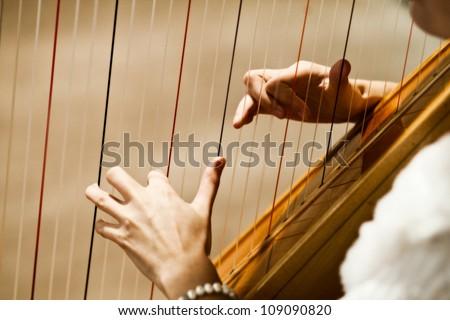woman playing the harp - stock photo