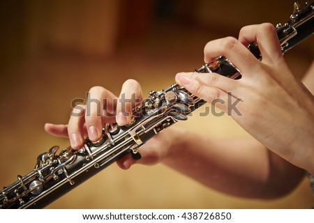 Woman playing the oboe