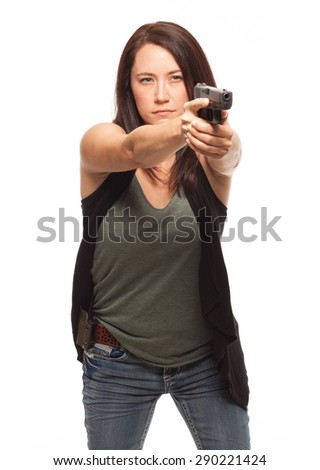 Woman pointing a gun with a straight trigger finger| Attractive female shooter holding handgun against white background. - stock photo