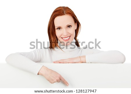 Woman pointing at a blank board, white background