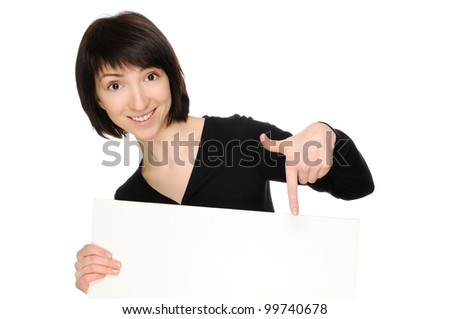 Woman pointing at blank billboard. Isolated on white