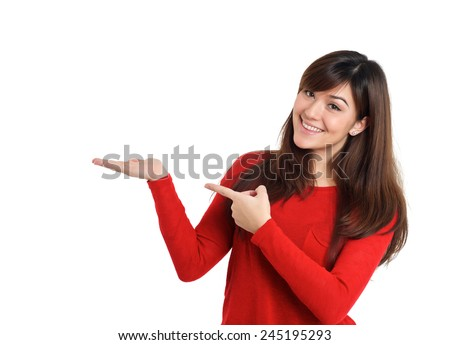Woman pointing empty placeholder product on white background
