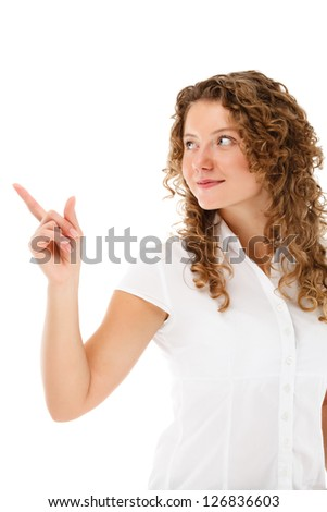 Woman pointing isolated on white background