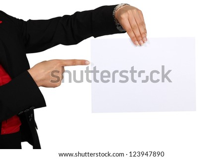 Woman pointing to blank poster