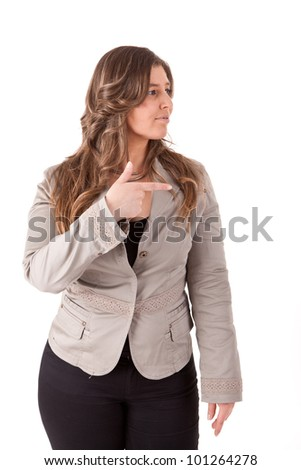Woman pointing to the left - stock photo