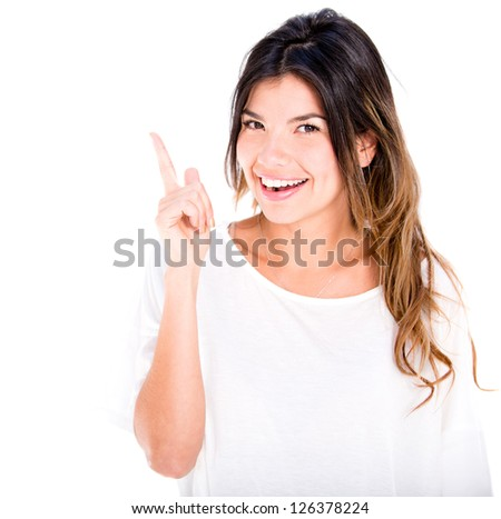 Woman pointing up with her finger - isolated over a white background - stock photo