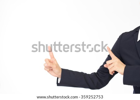 Woman pointing with her fingers