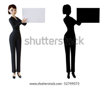 Woman points to a white panel