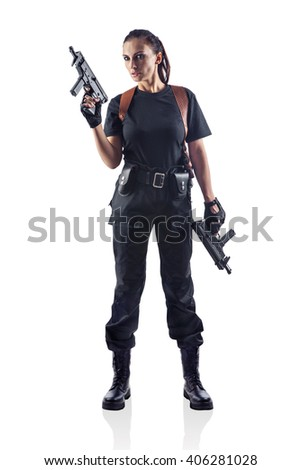 Woman police officer is holding 2 guns. Isolated on white. - stock photo