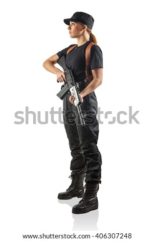 Woman police officer is holding Kalashnikov. Isolated on white.