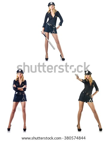 Woman police officer isolated on white - stock photo