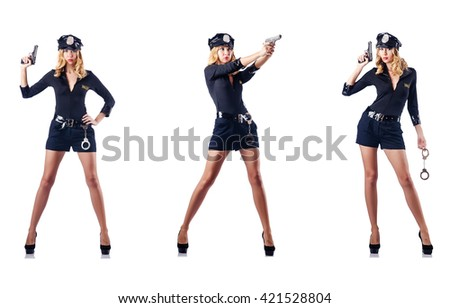 Woman police officer isolated on white