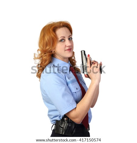 Woman police officer with handgun isolated on white background in square - stock photo