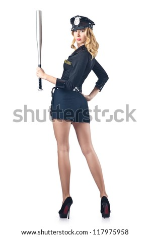 Woman police with baseball bat - stock photo