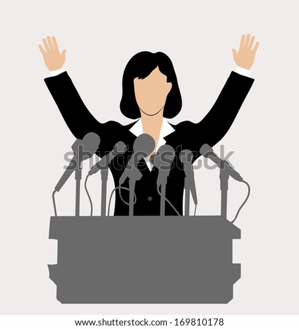 woman politician in front of a microphone - stock photo