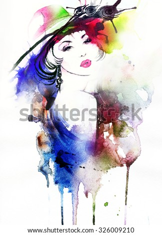 Woman portrait .Beautiful face. Abstract watercolor. Fashion background - stock photo