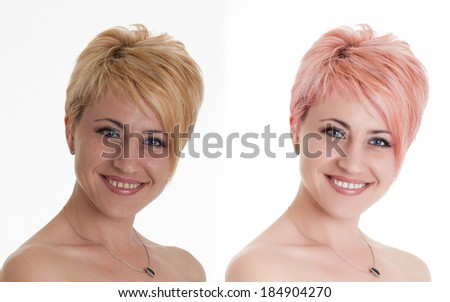 Woman portrait before and after computer retouching. Face of beautiful woman before and after retouch - stock photo