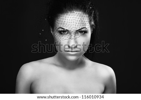 Woman portrait, black and white - stock photo
