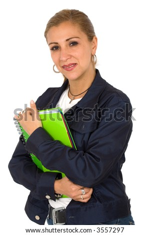 woman portrait holding a notebook - she could work as a teacher or be a student