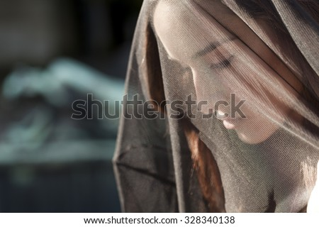 Woman portrait in mourning closeup - stock photo