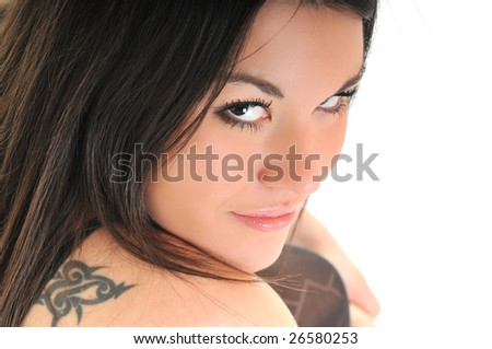 woman portrait isolated one happy smile face