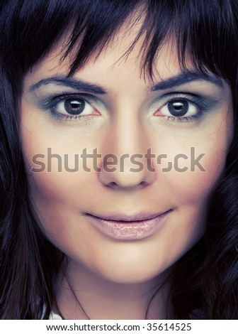 Woman portrait middle age smile peace relax - stock photo