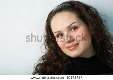 woman portrait on gray background with shadow