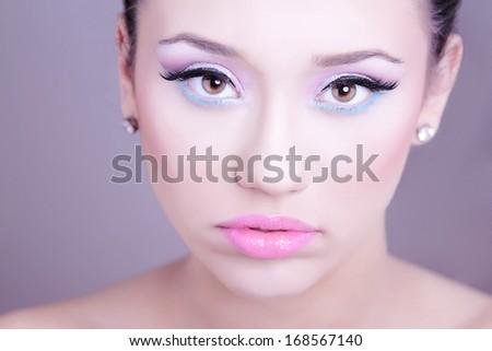Woman portrait. Professional make-up. - stock photo