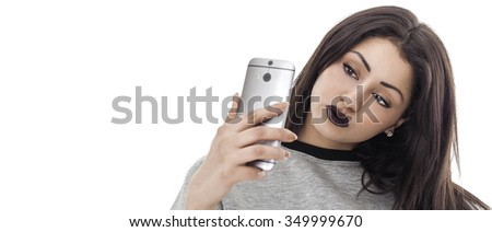 Woman portrait taking selfie letterbox