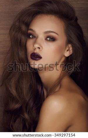 woman portrait with dark lips - stock photo