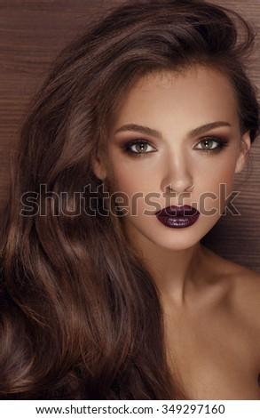 woman portrait with dark lipstick - stock photo