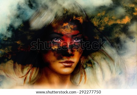 woman portrait, with ornament tattoo on face and feathers jewels. And fire clouds background