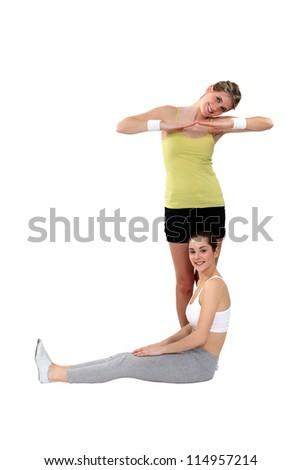 Woman posing as a letter J - stock photo