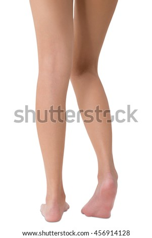woman posing her beautiful healthy long leg, Isolated on white background.