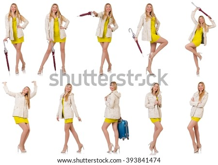 Woman posing in various poses isolated on white - stock photo