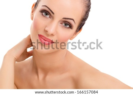 woman posing ,scincare,isolated on white background - stock photo