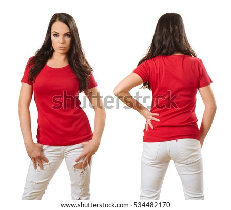 woman posing with a blank red t-shirt, ready for your artwork or design.