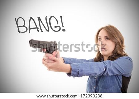 Woman Posing With gun set - stock photo