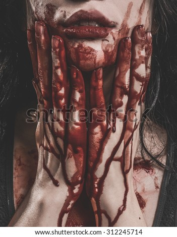 Woman Possessed as a zombie or demon - stock photo