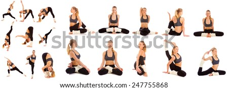 Woman practices yoga on a white background, isolated.Set