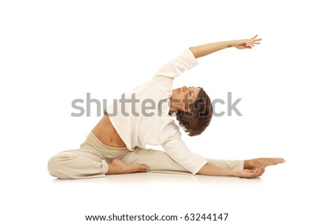 Woman practicing yoga - stock photo
