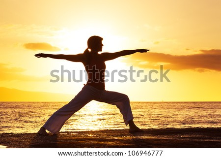 Woman Practicing Yoga, Vibrant Tropical Sunset