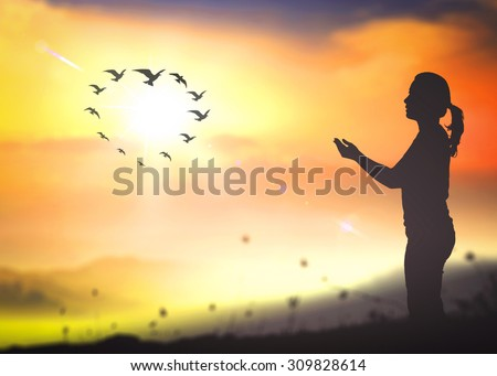 Woman pray and birds flying in the shape of heart on blurred beautiful golden autumn sunset with amazing light background. World Environment, Thanksgiving, Christmas, Repentance, Stop Violence concept - stock photo