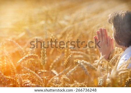 Woman pray for a rich harvest - stock photo